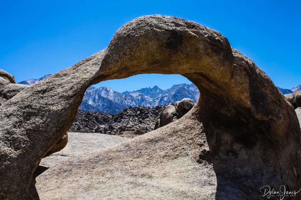 Eastern Sierra Mount Whitney through the Mobius Arch at Alabama Hills