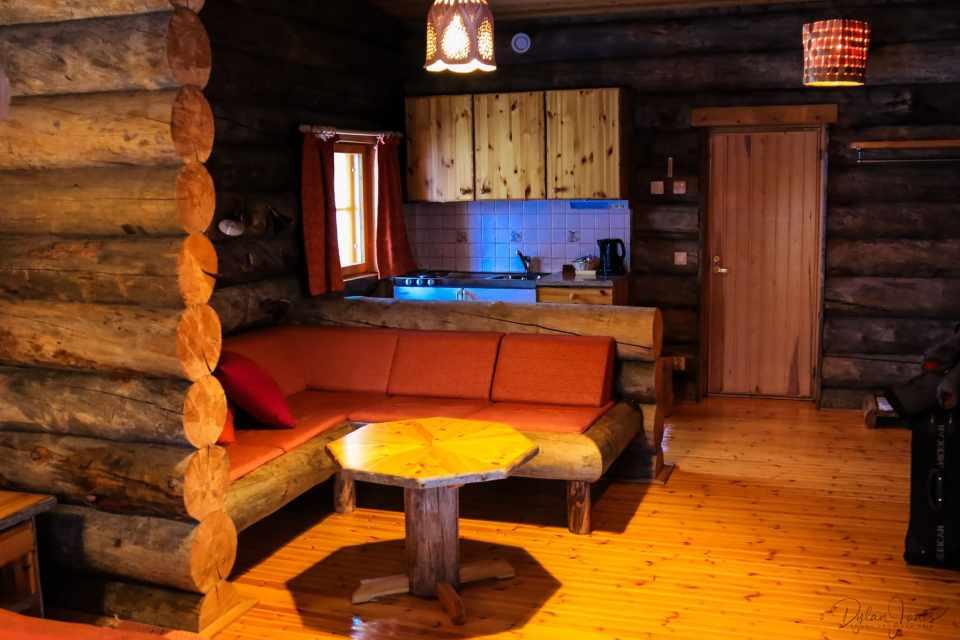 Kitchenette and Seating Area in Cabin 26 Kakslauttanen East Village