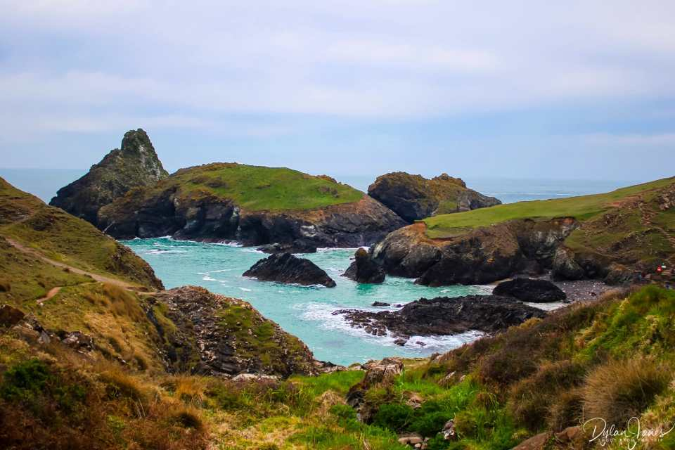 An overview of Kynance Cove from the car park trail, South Cornwall Coast