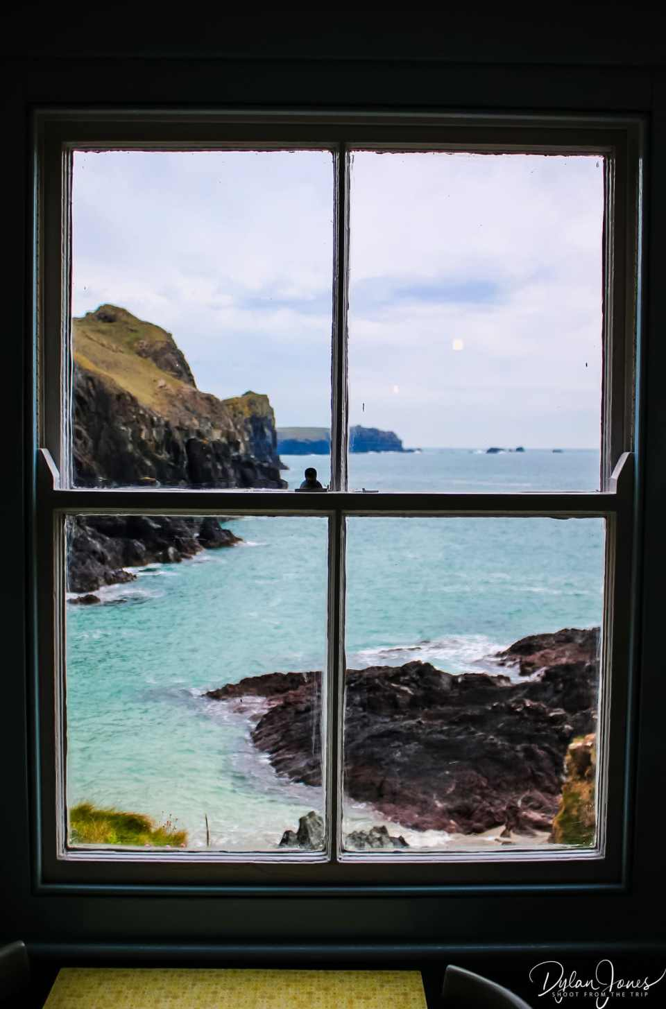 View from the window of Kynance Cove Cafe, South Cornwall coast