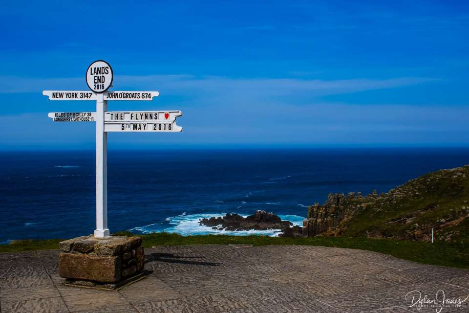 The famous Land's End sign, South Cornwall coast