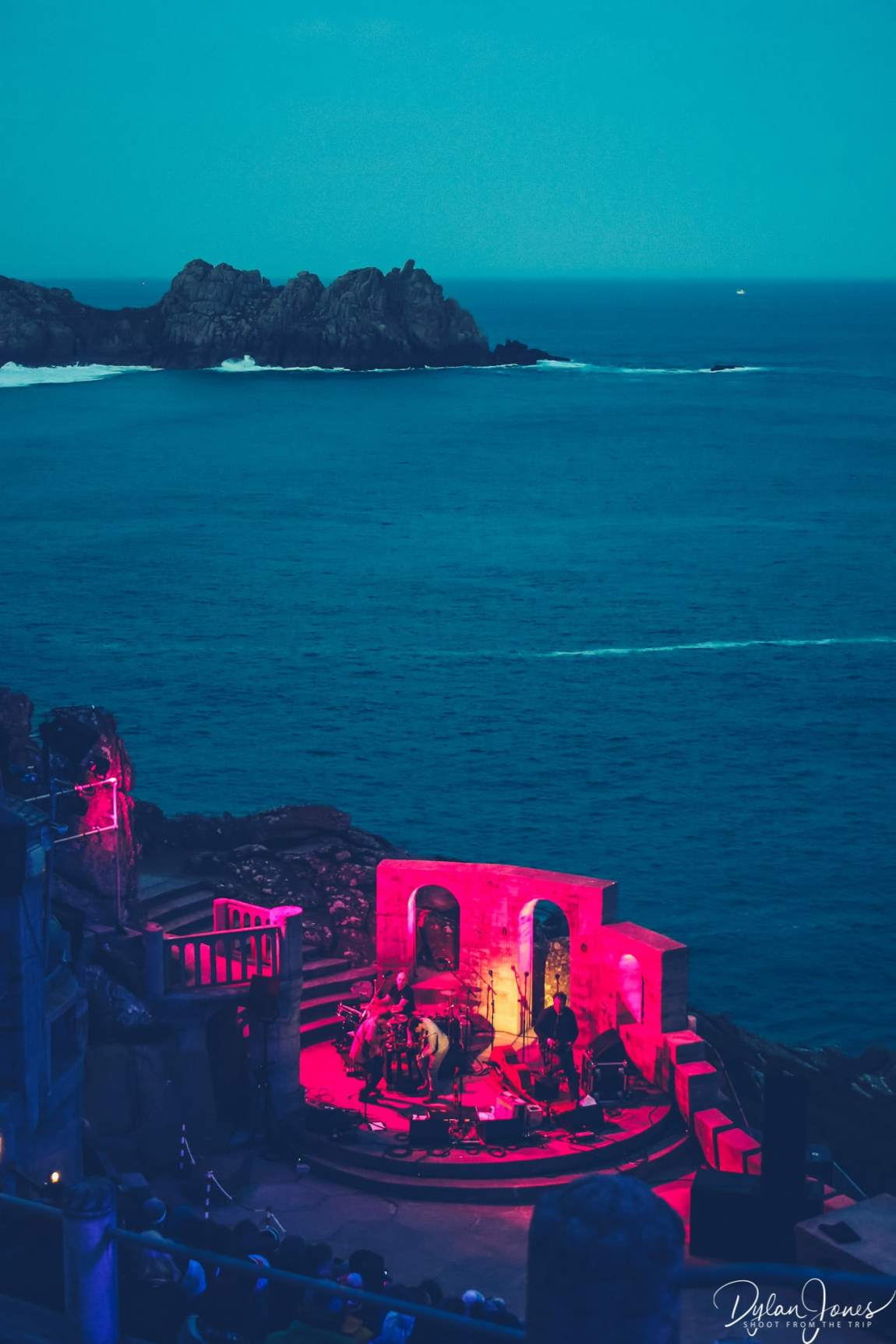 The backdrop of the Minack Theatre stage at dusk on the South Cornwall coast