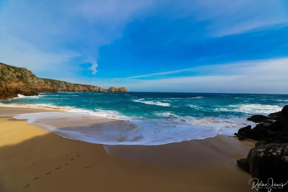 Golden sands and turquoise waters (in the UK), Porthcurno Beach, South Cornwall coast
