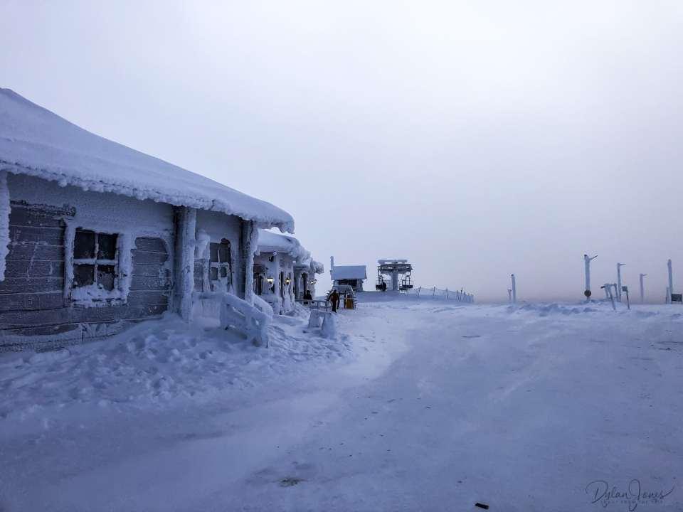 Frozen buildings at the top of the fell, Saariselkä Lapland