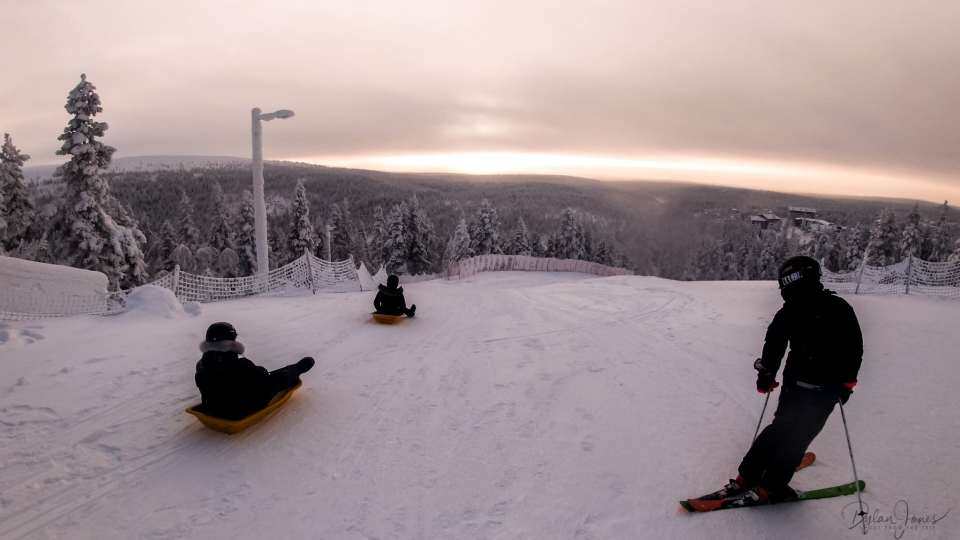 The splitting point of the Toboggan Run, Saariselkä Lapland