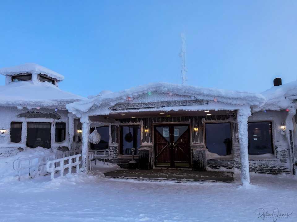 The frozen Kaunispään Huippu Oy restaurant, Saariselkä Lapland