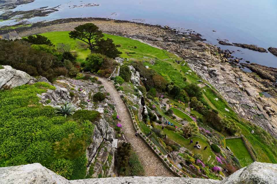 Looking down at the terraced gardens from the castle of St. Michael's Mount, South Cornwall coast