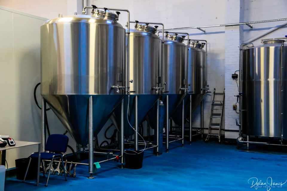 Stainless steel beer tanks at Double-Barrelled Brewery