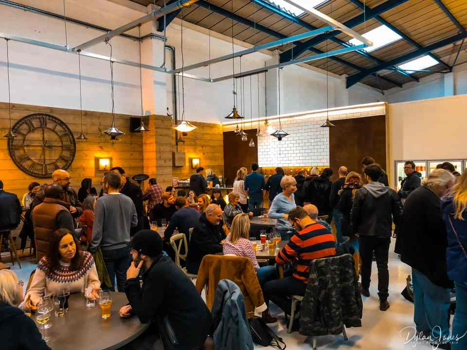 A busy Tap Room at Double-Barrelled Brewery, Berkshire Brewery Tours