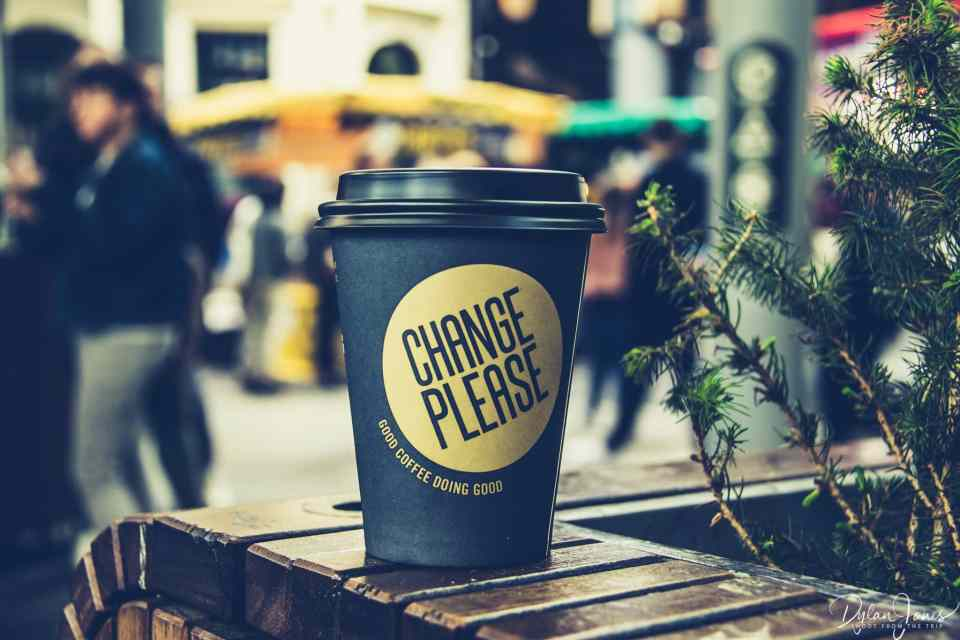 Change Please. A coffee company helping the homeless.