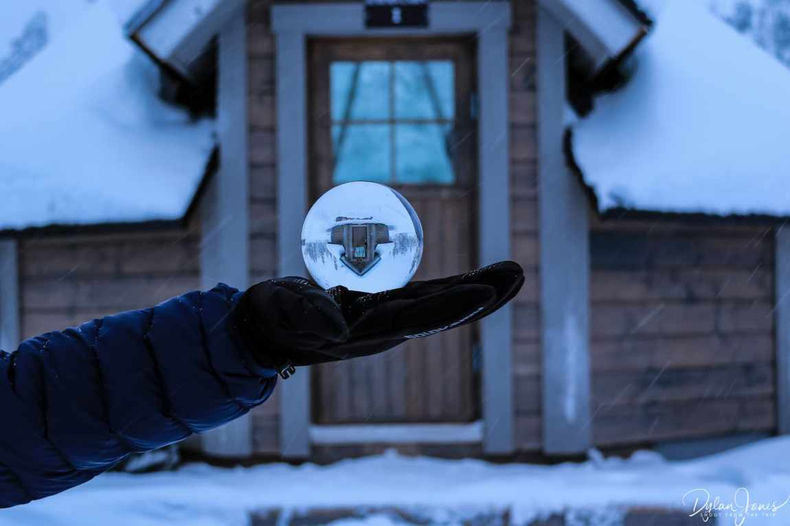 Aurora Cabin through a Lensball