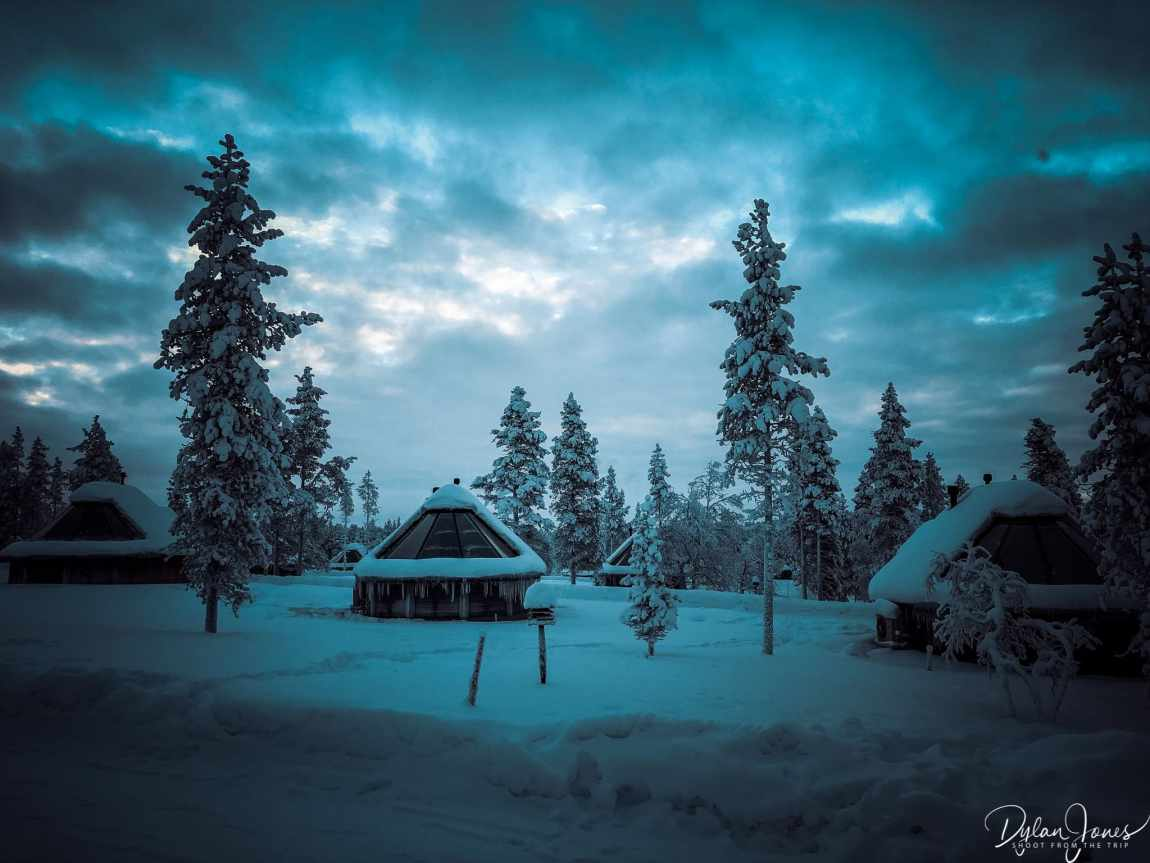 A moody shot of the Aurora Cabins