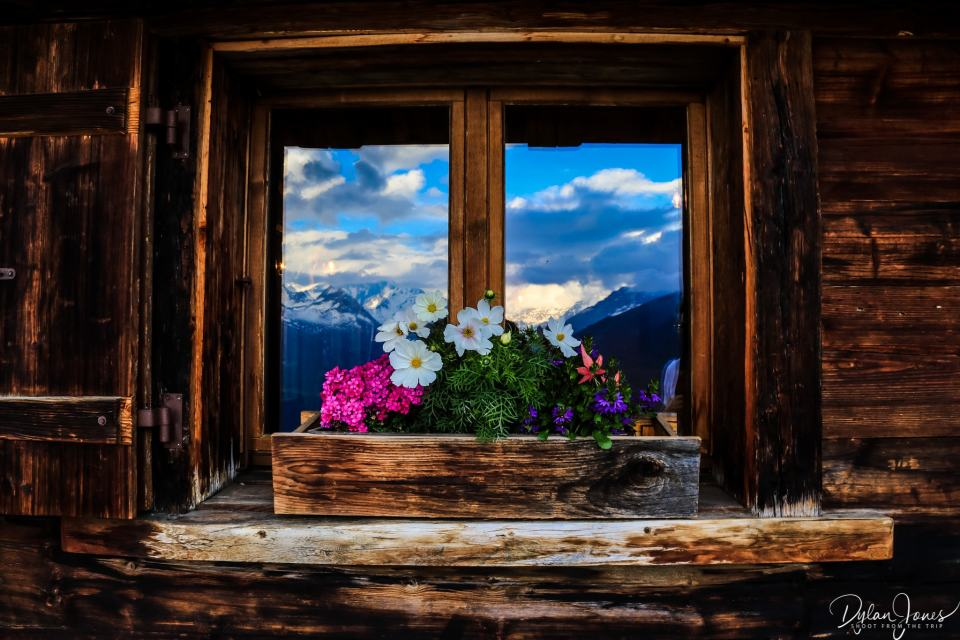 Mountain reflections and window boxes