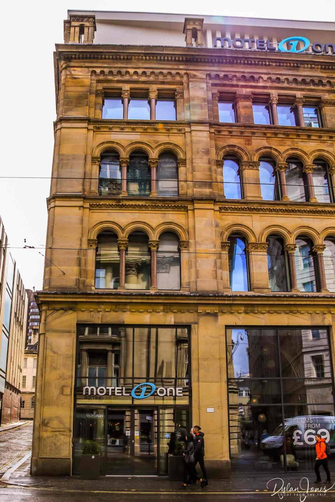 Exterior shot of Motel One Manchester Royal Exchange