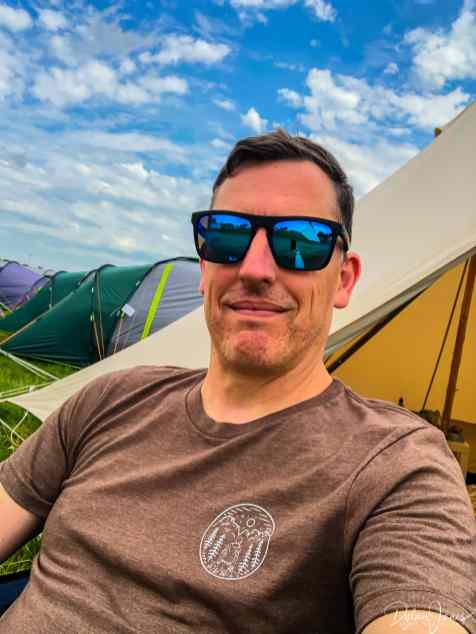 Relaxing in the glamping field at Deer Shed Festival 10