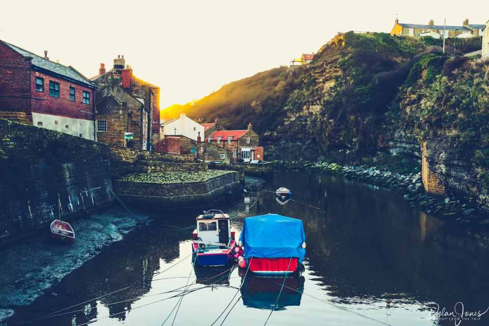 Fishing boats on Staithes Beck
