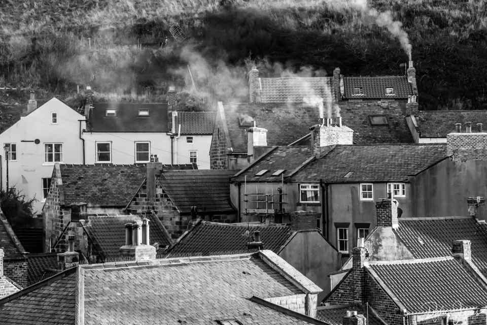 Smoke rising from the chimneys in Staithes