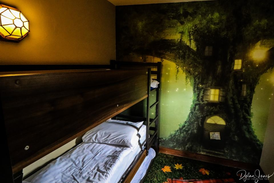 The bunk room at the Woodland Lodge