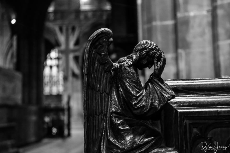 A carved angel at Chester Cathedral