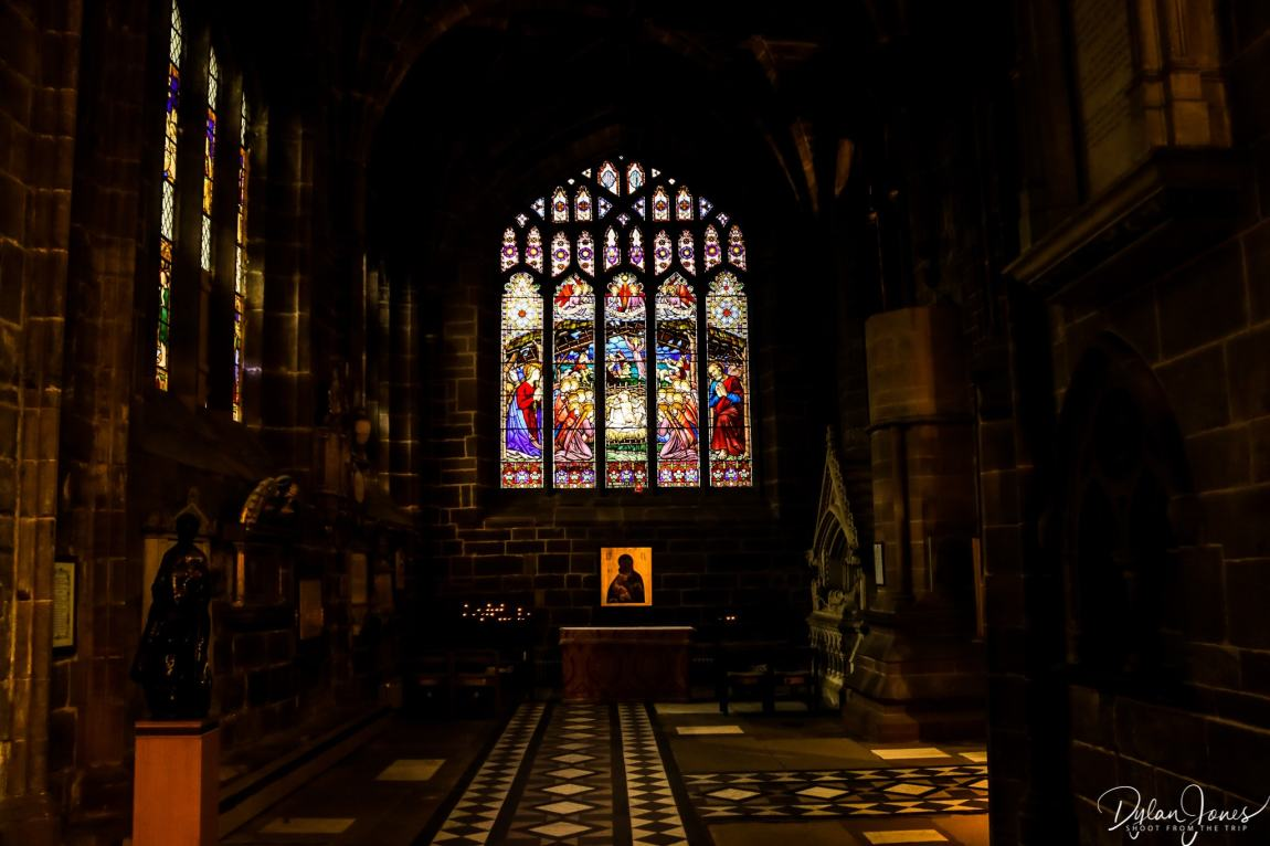 Chester cathedral interior and stained glass window
