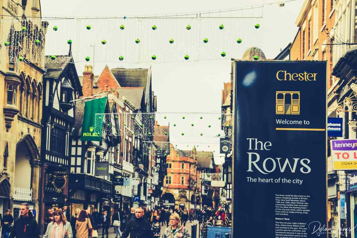 The Rows signage on a Chester sightseeing trip