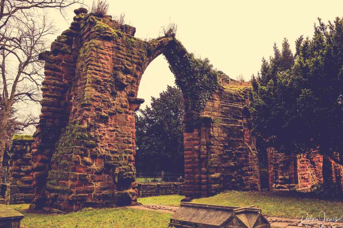 The ruins in the grounds of St John the Baptist Church