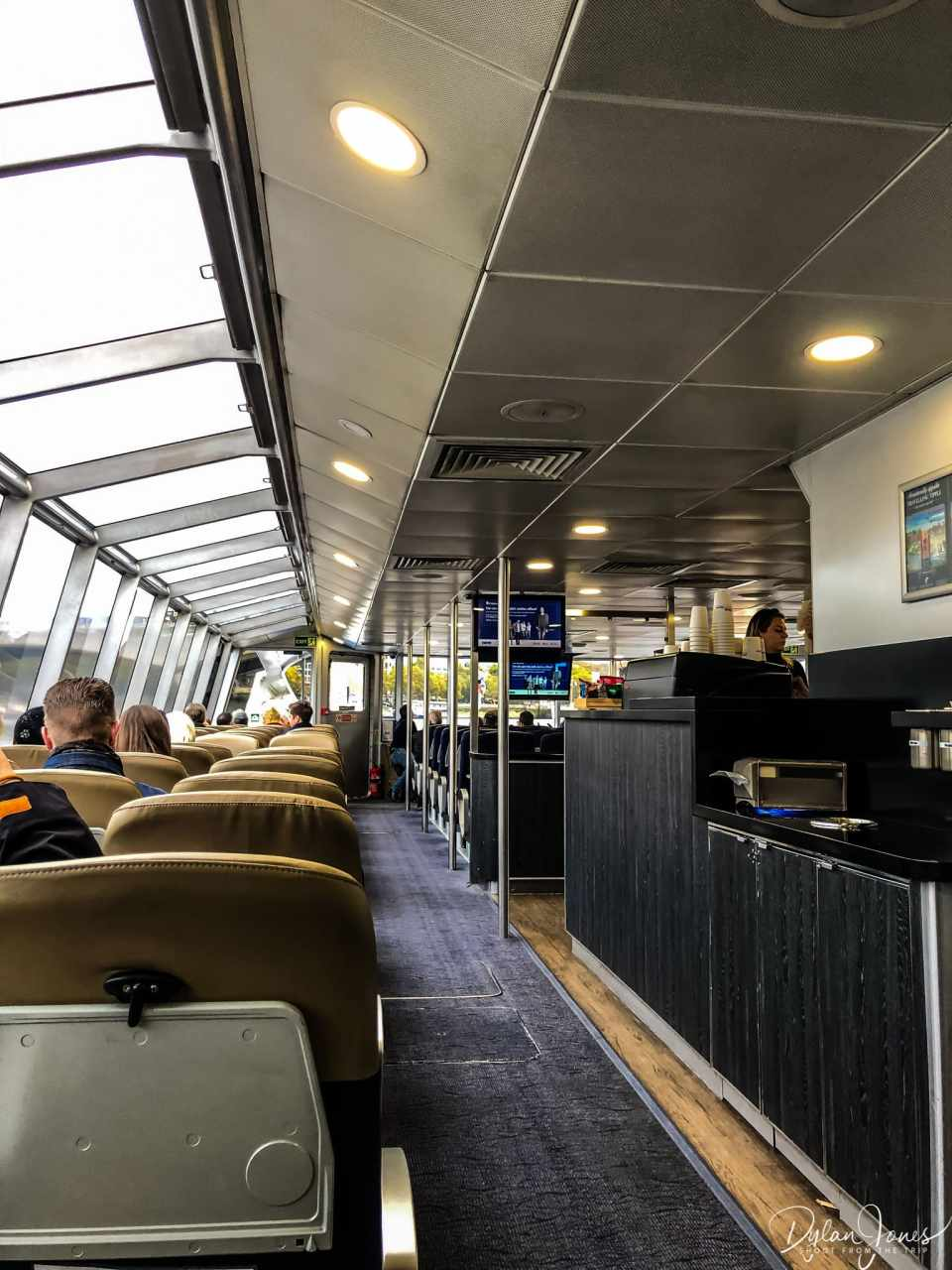 Interior of the Thames Clippers catamaran, great to see the London landmarks along the river