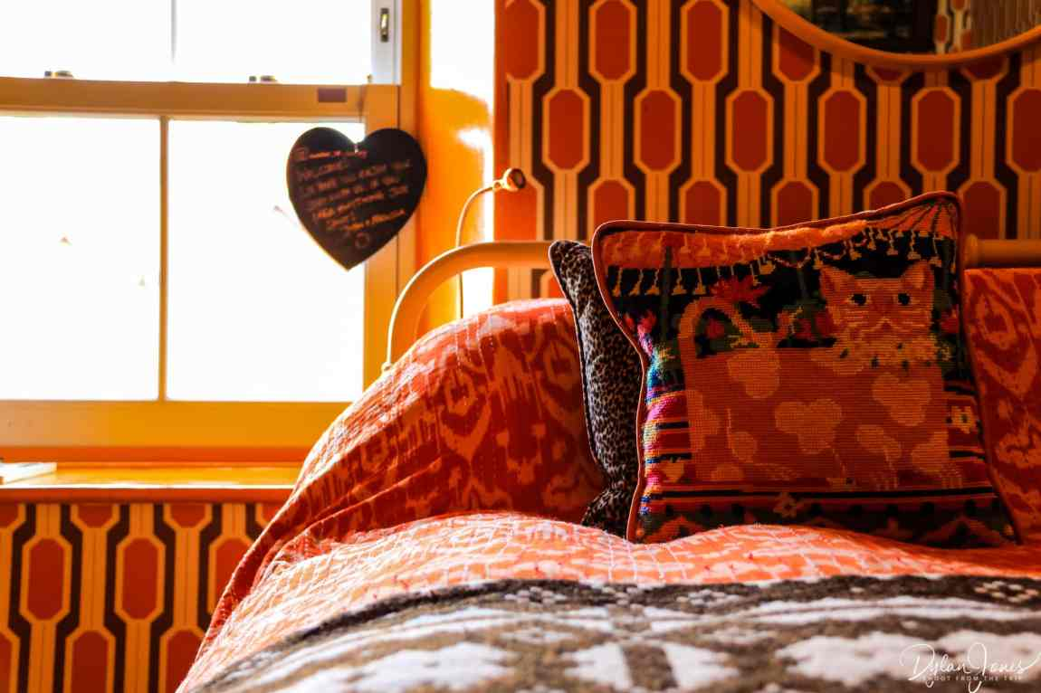Orange on orange, on orange. Retro vibes in the Mrs Peel room