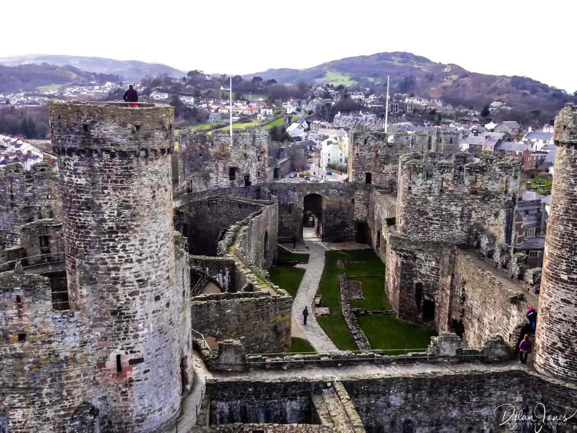 An overview of Conwy Castle from high level