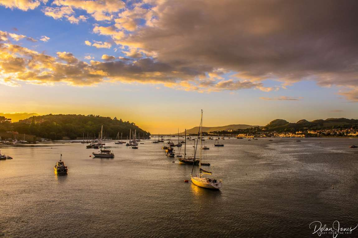 Sunset scenes from Conwy Bridge