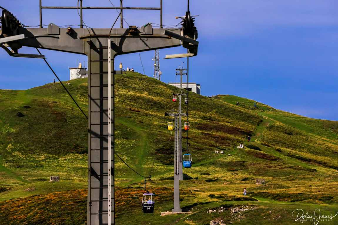 Heading up the Great Orme on the Llandudno Cable Car