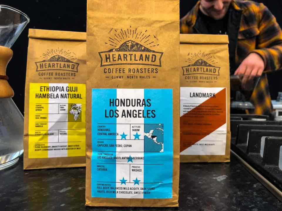 A range of coffee beans from Heartland Coffee Roasters