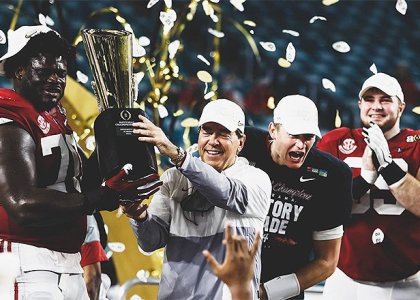 Saban celebrating another National Championship