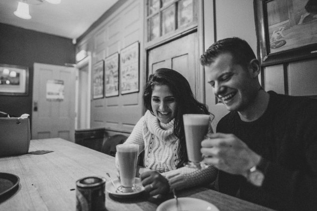 Sharing a giggle over coffee