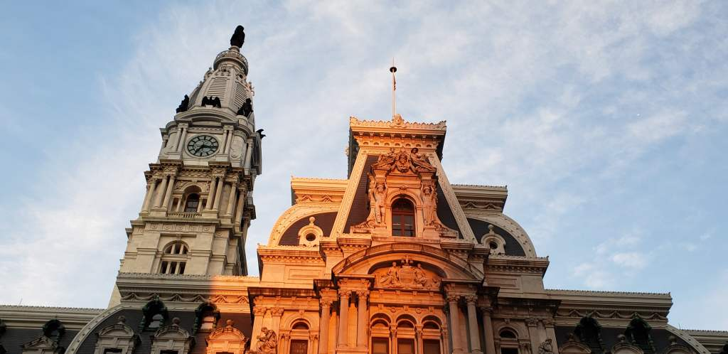 Philadelphia City Hall Sunset.