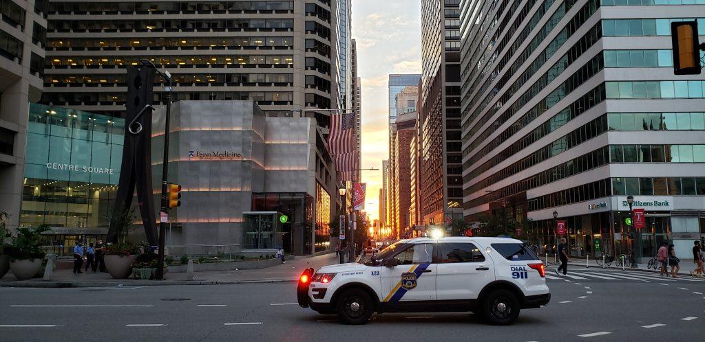 Philadelphia Police Department Cruiser on Market Street.