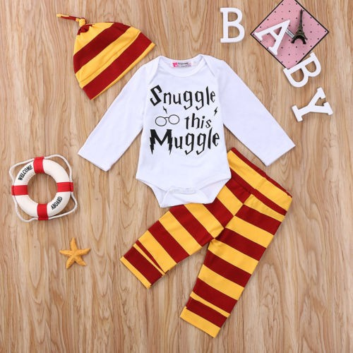 65a9bd793 US Stock Newborn Baby Boys Girl Harry Potter Clothes Romper Pants Hat  Outfit Set
