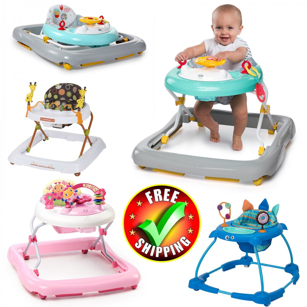 Baby Walkers for Girls with Toys Removable Bar Multi-Directional Wheels