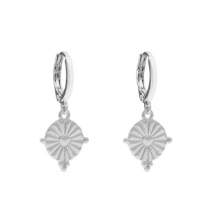 Earrings coin heart silver