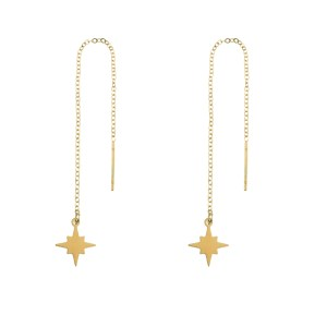 Earrings long chain Northstar gold