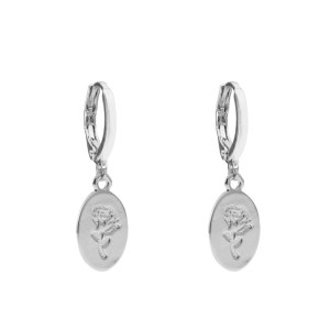 Earrings oval rose silver