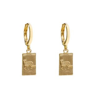 Earrings tag leoapard gold