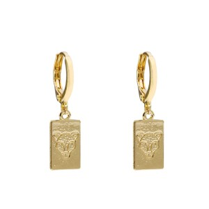 Earrings tag leopard head gold
