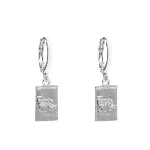 Earrings tag leopard silver