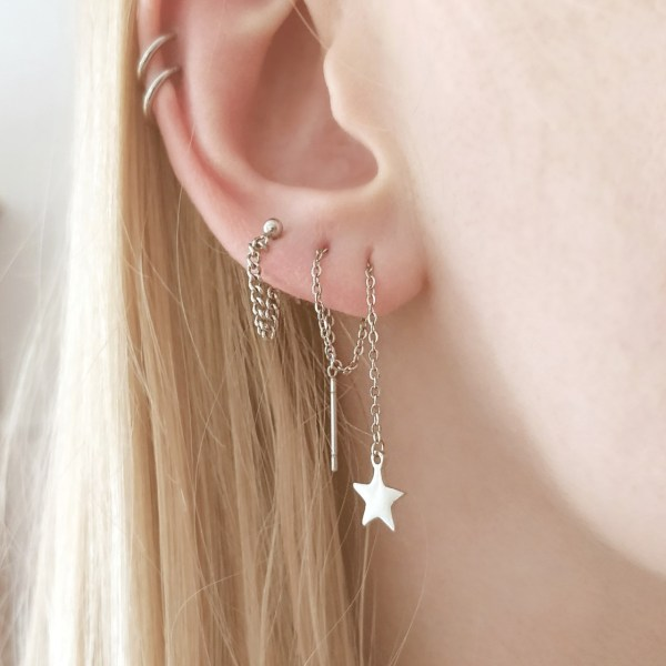 How to wear long chain earrings through multiple holes