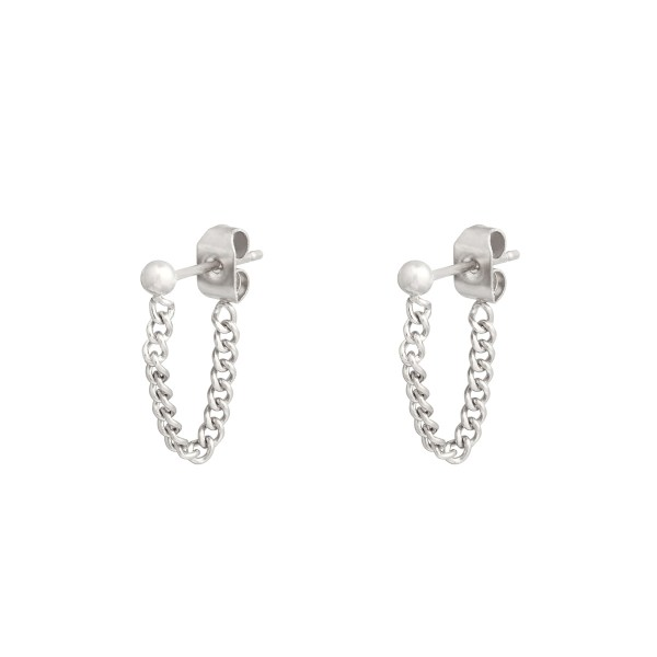 Stud earrings with chain dot silver