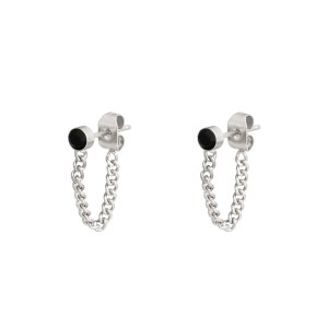 Stud earrings with chain stone silver