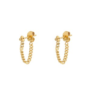 Stud earrings with chain dots gold