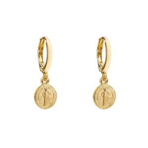 Earrings coin Jesus gold