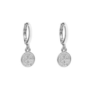 Earrings coin cross silver